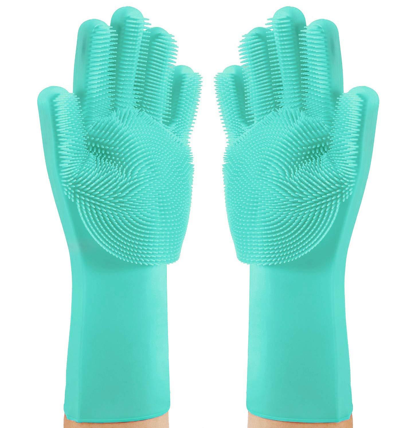 Magic Saksak シリコン製食器洗い用手袋 再利用可能 家庭用 耐熱性 ゴム クリーニング手袋 洗浄用スクラバースポンジ付き キッチン お皿 浴室用 One Size PAT-049-1 B07M8QMDT1 1 Pair (Green)