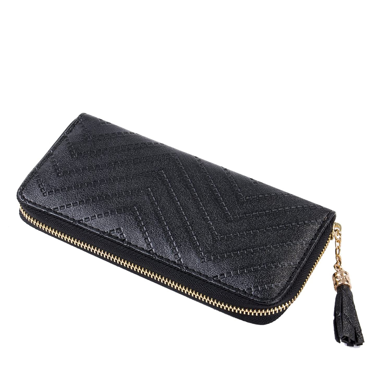 Universalgoods Women Clutch Bag Ripple Pattern Spiraea Tassel Long Purse Zipper Wallets
