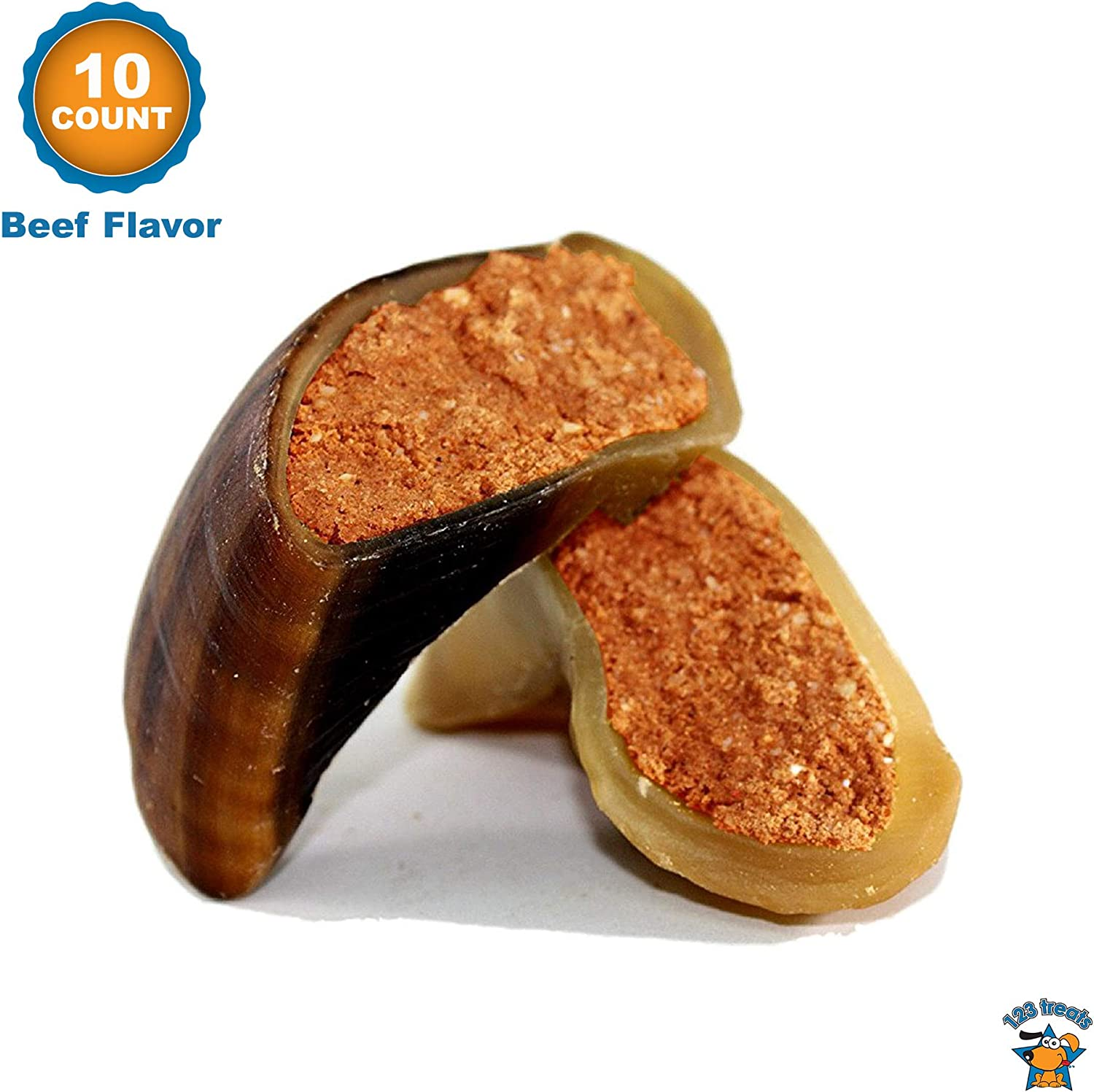 123 Treats | Filled Cow Hooves - Delicious Peanut Butter, Beef and Cheese with Bacon Flavors | Natural Dog Stuffed Beef Hoof Snacks 71MXUnFcNYL