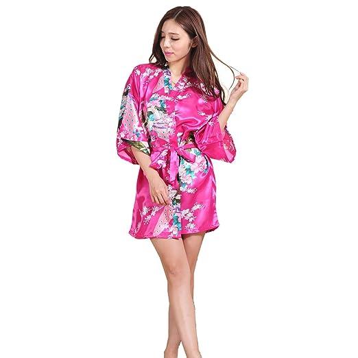 GY&H Bata de dormir Seda kimono de raso de las mujeres Albornoz corta Pijamas cómodos Albornoz suelta Moda de la camiseta Albornoz roja de Rose,Rose red,M: ...