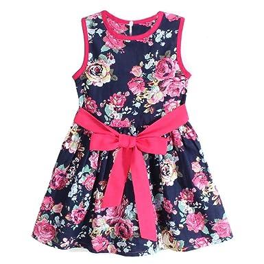 2bfdc59b4123f Aliciga 子供 ワンピース リボン 花柄 ドレス コットン チュール ローズプリント 袖なし プリンセス ガールズ ゆったり