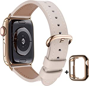 JSGJMY Compatible with Apple Watch Band 38mm 40mm 42mm 44mm Women Men Genuine Leather Replacement Strap for iWatch Series SE 6 5 4 3 2 1 (Ivory White with Bronze Gold Clasp, 38mm/40mm S/M)