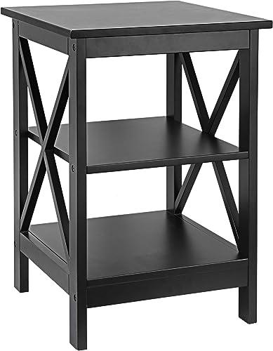 ZenStyle Black Nightstand 3-Tier X-Design Side/End Table