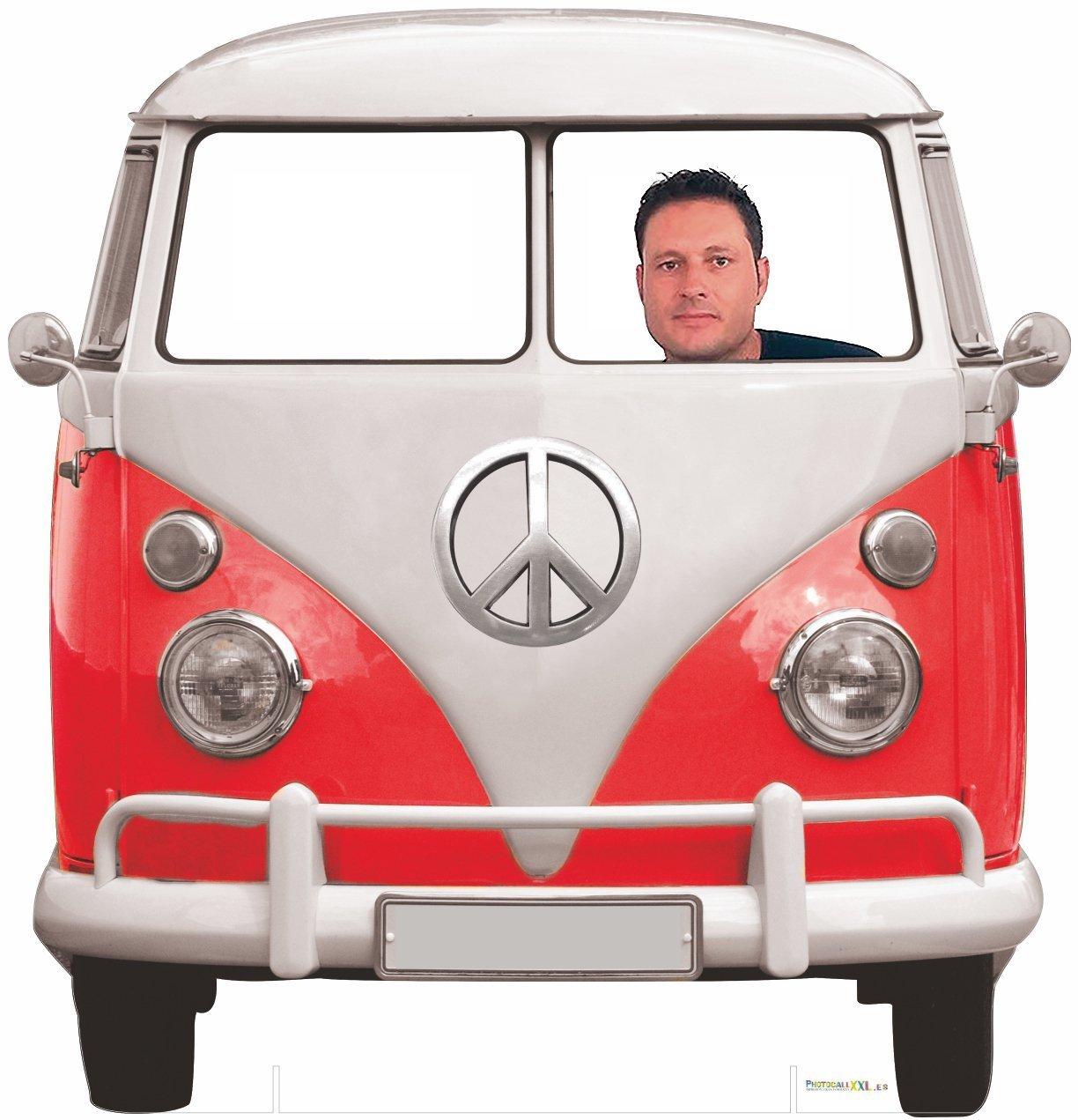 Photocall Coche Volkswagen Hippie 1,50x1,50cm | Photocall Divertido para Bodas, Cumpleaños, Eventos... | Photocall Furgoneta Volkswagen Resistente, ...