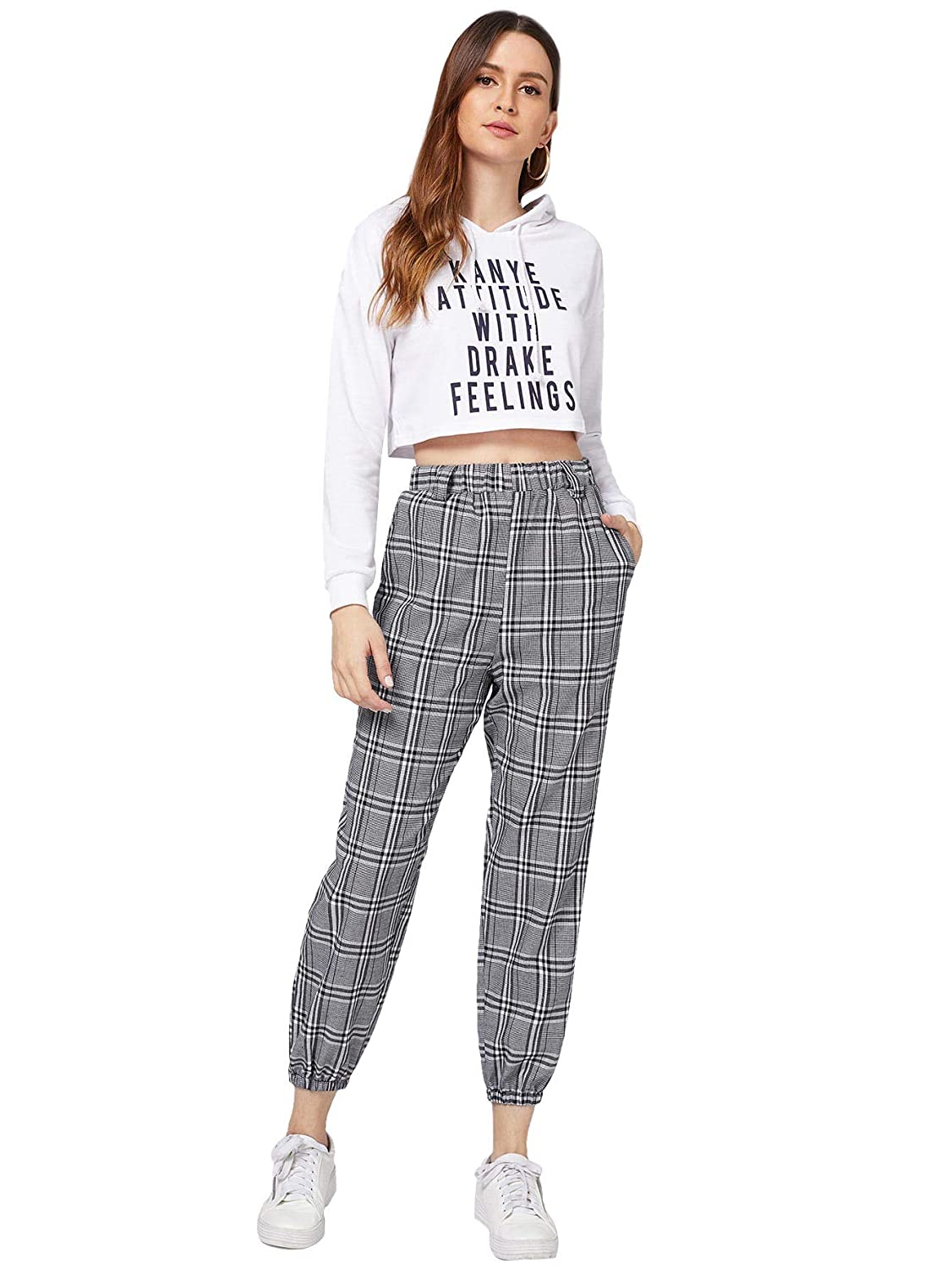 8056d6946c1b SheIn Women's Casual Side Pockets Elastic Waist Plaid Pants at Amazon  Women's Clothing store: