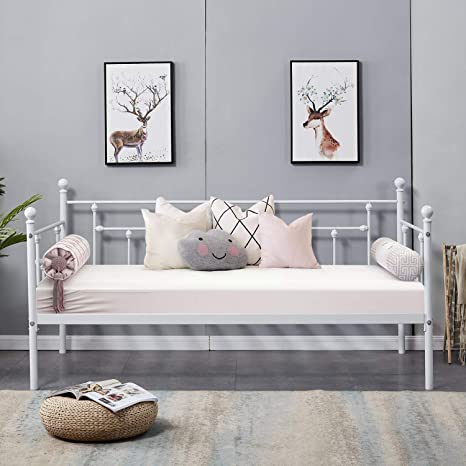 VECELO Daybed Frame Twin Size Multifunctional Metal Platform with Headboard Victorian Style,Mattress Foundation/Children Bed Sofa for Guest Living ...