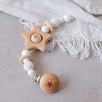 Mamimami Home 1pc Bebé Pentagrama De Madera Chupete Clip BPA ...