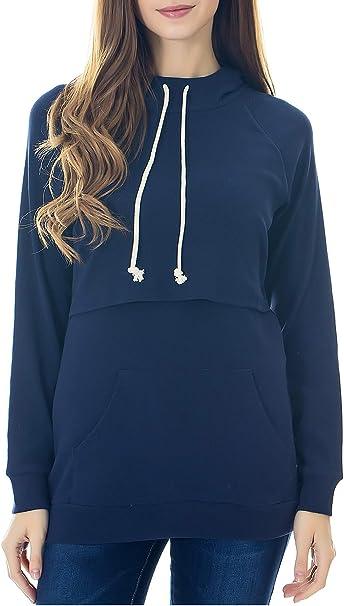 Casual Breastfeeding Pullover Long Sleeve Top Blouse Womens Maternity Nursing Hoodie Sweatshirt with Kangaroo Pocket