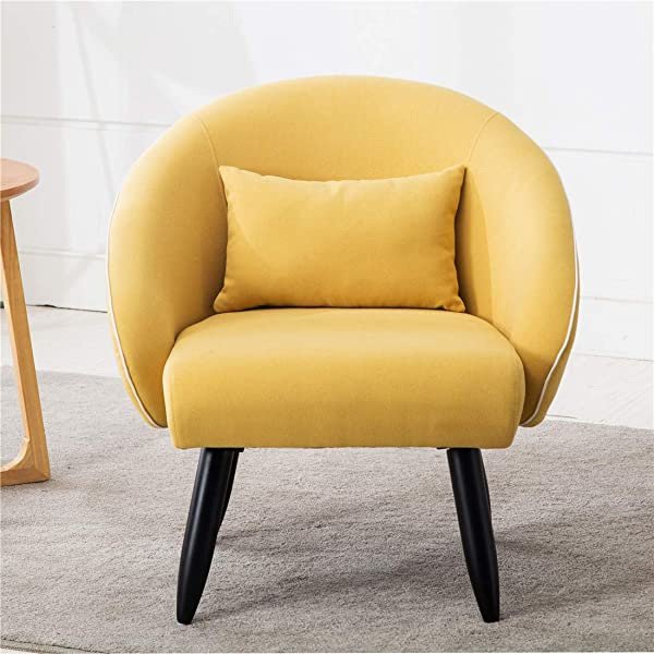Lansen Furniture Modern Accent Arm Chair Leisure Club Seat with Solid Wood Legs (Yellow)