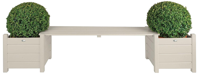 Esschert Design Bankbrücke in weiß aus Holz, ca. 188 cm x 40 cm x 40 cm