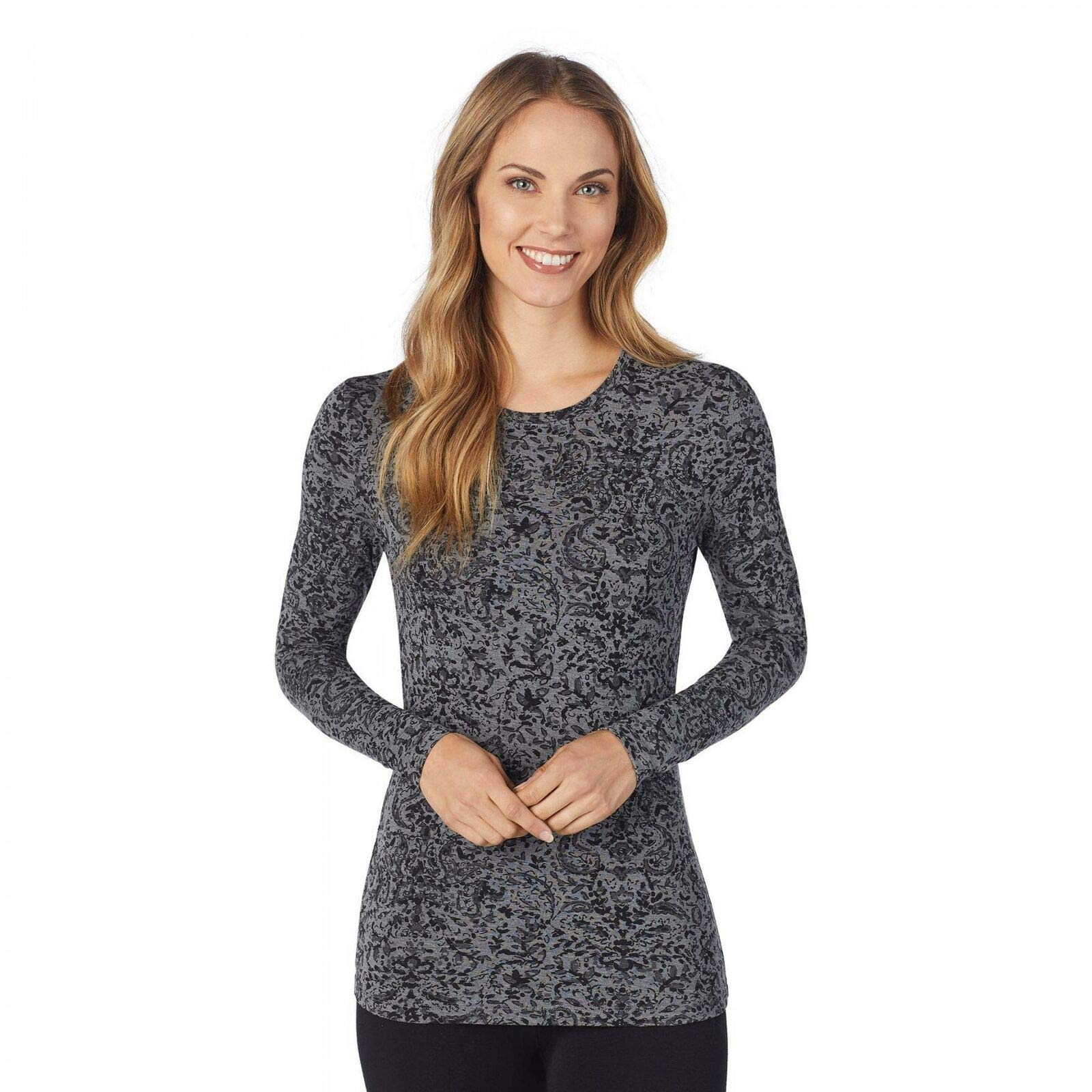Cuddl Duds Women's Softwear Stretch Long Sleeve Crew Shirt. CD8420816 Tonal Paisley XS by Cuddl Duds