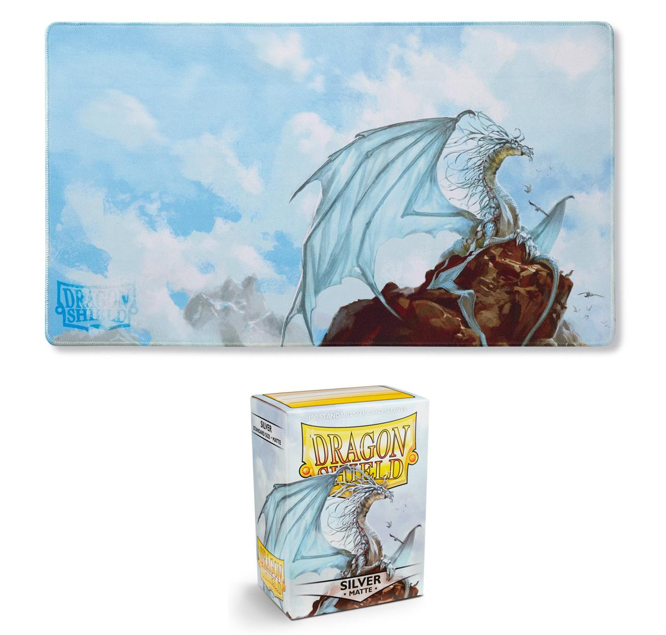 Dragon Shield Bundle: Silver Caelum Limited Edition Playmat + Matte Silver Caelum 100 Count Standard Size Card Sleeves