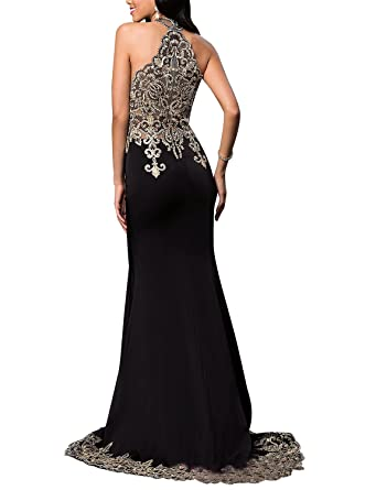 DESHE Womens Halter Mermaid Long Prom Dresses Gold Appliques 2017 Formal Gown Black Size 2