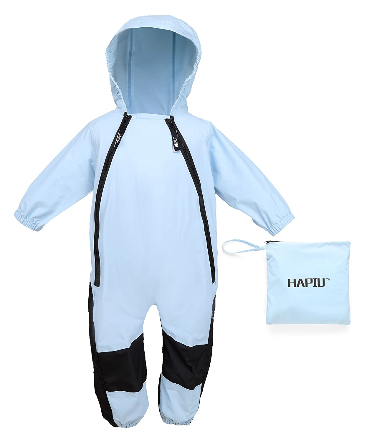 HAPIU Kids and Toddler Rain Suit One Piece Waterproof Coverall with Hood Blue 12M BU-12M