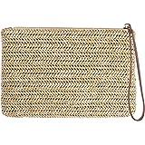 FENICAL Straw Clutch Bag Bohemian Zipper Wristlet Summer Beach Handbag for Women Girls