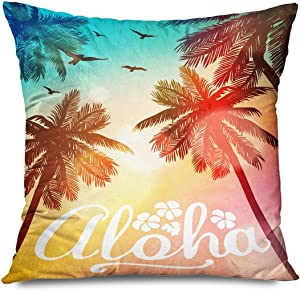Onete Throw Pillow Cover Hawaii Summer Beach Aloha Inspiration for Wedding Date Birthday Tropical Party Surf Sunset Food Pillowcase 22x22 Inch Decorative Cushion Case Home Decor Sofa Pillows Cover