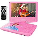 "DBPOWER 9"" Portable DVD Player with Rechargeable Battery, Swivel Screen, SD Card Slot and USB Port, with 1.8M Car Charger and 1.8M Power Adaptor (Pink)"