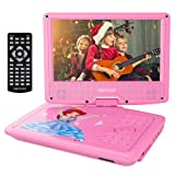 """DBPOWER 9"""" Portable DVD Player with Rechargeable Battery, Swivel Screen, SD Card Slot and USB Port, with 1.8M Car Charger and 1.8M Power Adaptor (Pink)"""
