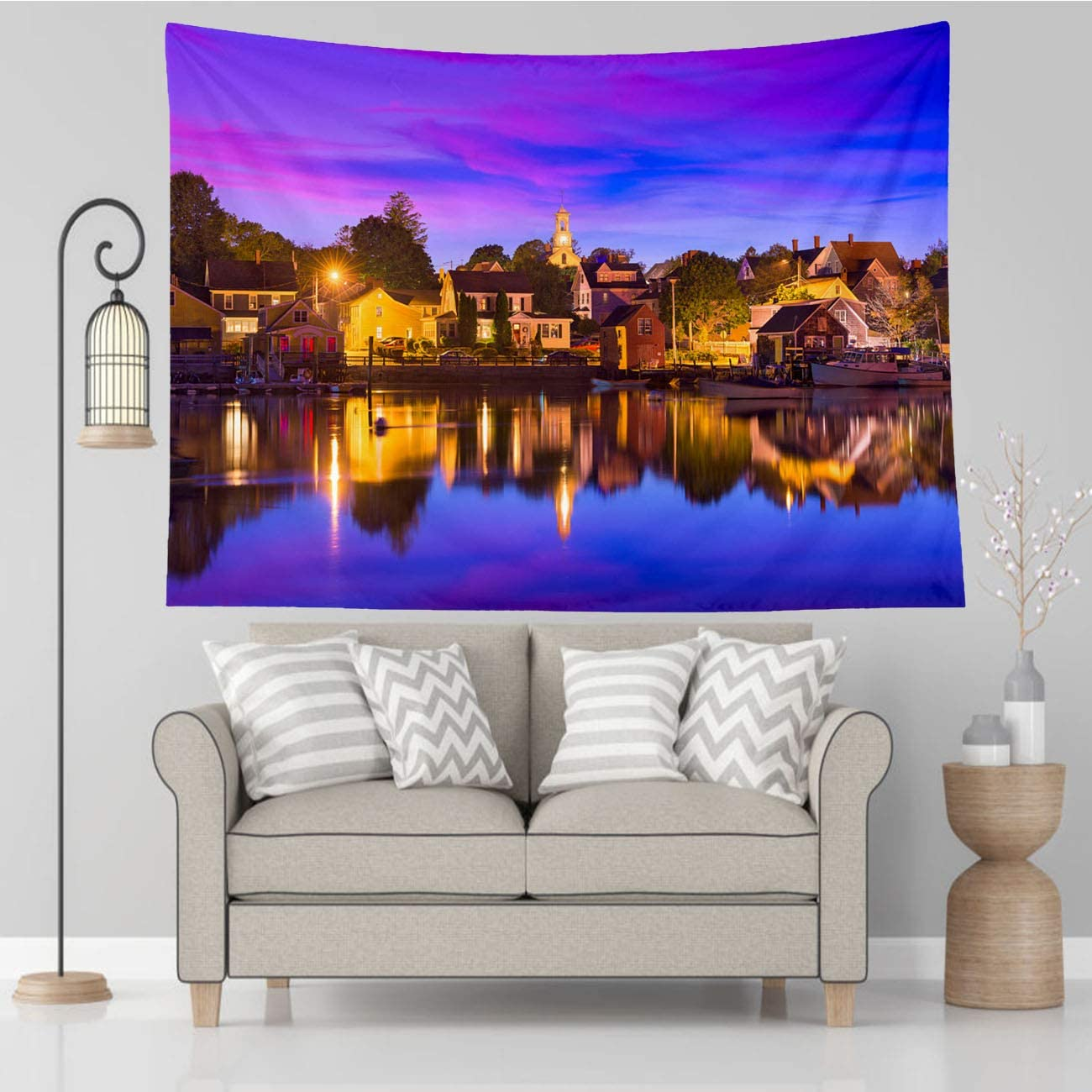 Vikes Nature Tapestry,Portsmouth New Hampshire,Tapestry Wall Hanging Art for Living Room Bedroom Home Decor,80x60 in