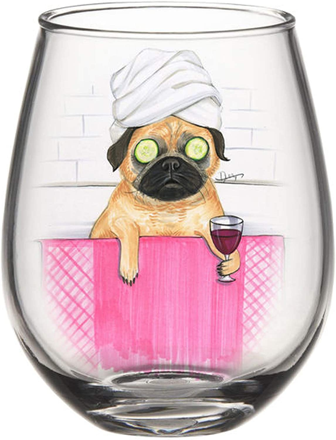 20 Ounce Silver Buffalo Rng2016fb Rong Pug Bath Boxed Stemless Glass Clear Home Kitchen Dining