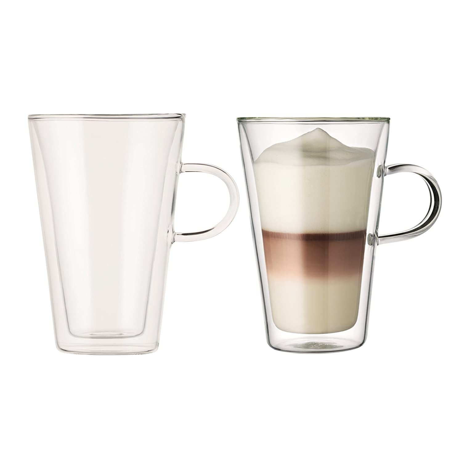 Bodum Canteen Glass Mug, Double-Wall Insulated Glass, Clear, 13.5 Ounce, (2 Glasses)