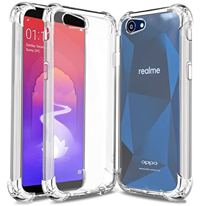 huge selection of b99be 7e871 Bracevor Stylish Flexible Shockproof TPU Back Case Cover for Realme 1 &  Oppo A3- Transparent