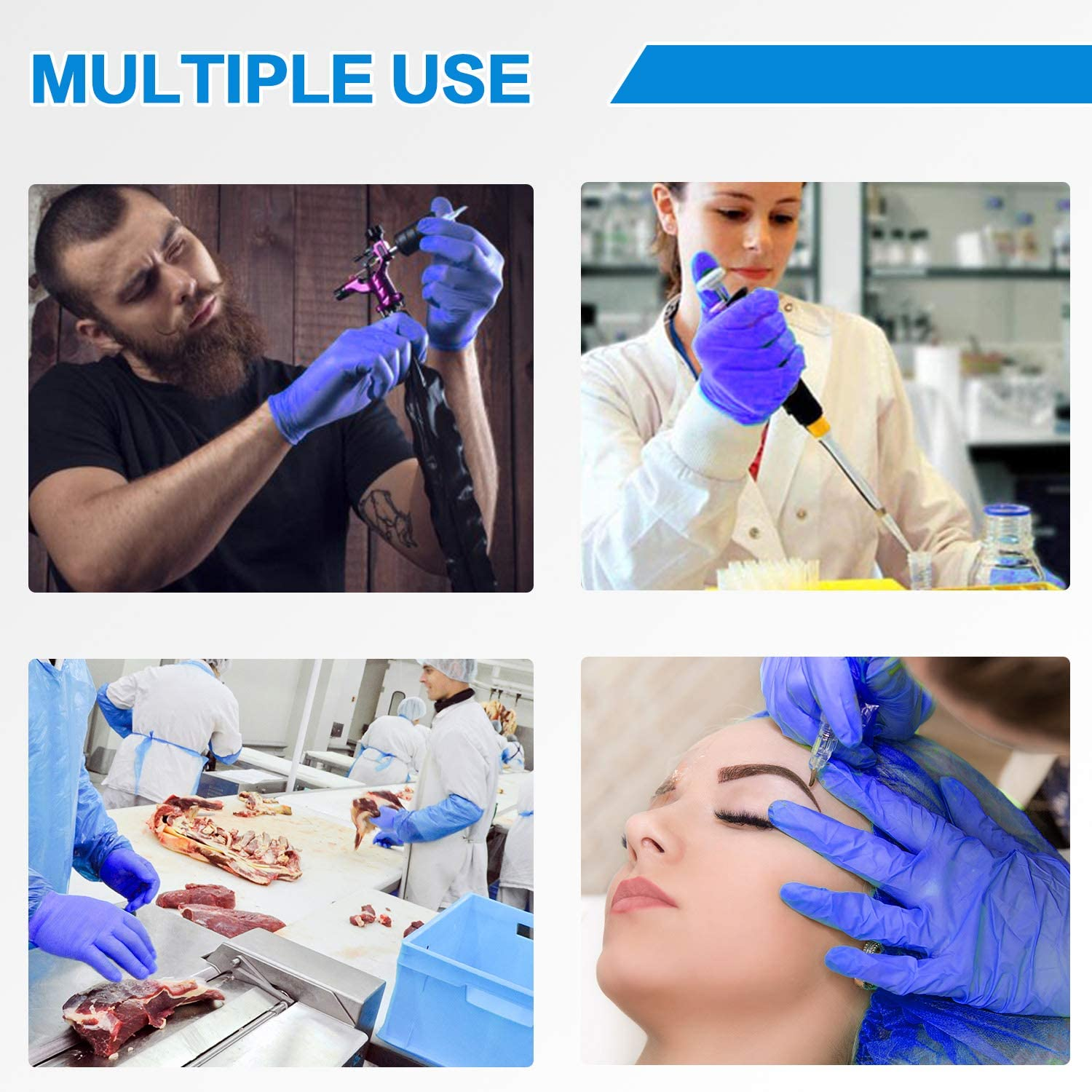 Nitrile Disposable Gloves Powder Free Case of 100PCS Disposable Working Gloves Non-Sterile Latex Free