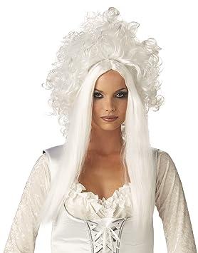Reina de la nieve blanca peluca damas horror Halloween carnaval 61cm de largo