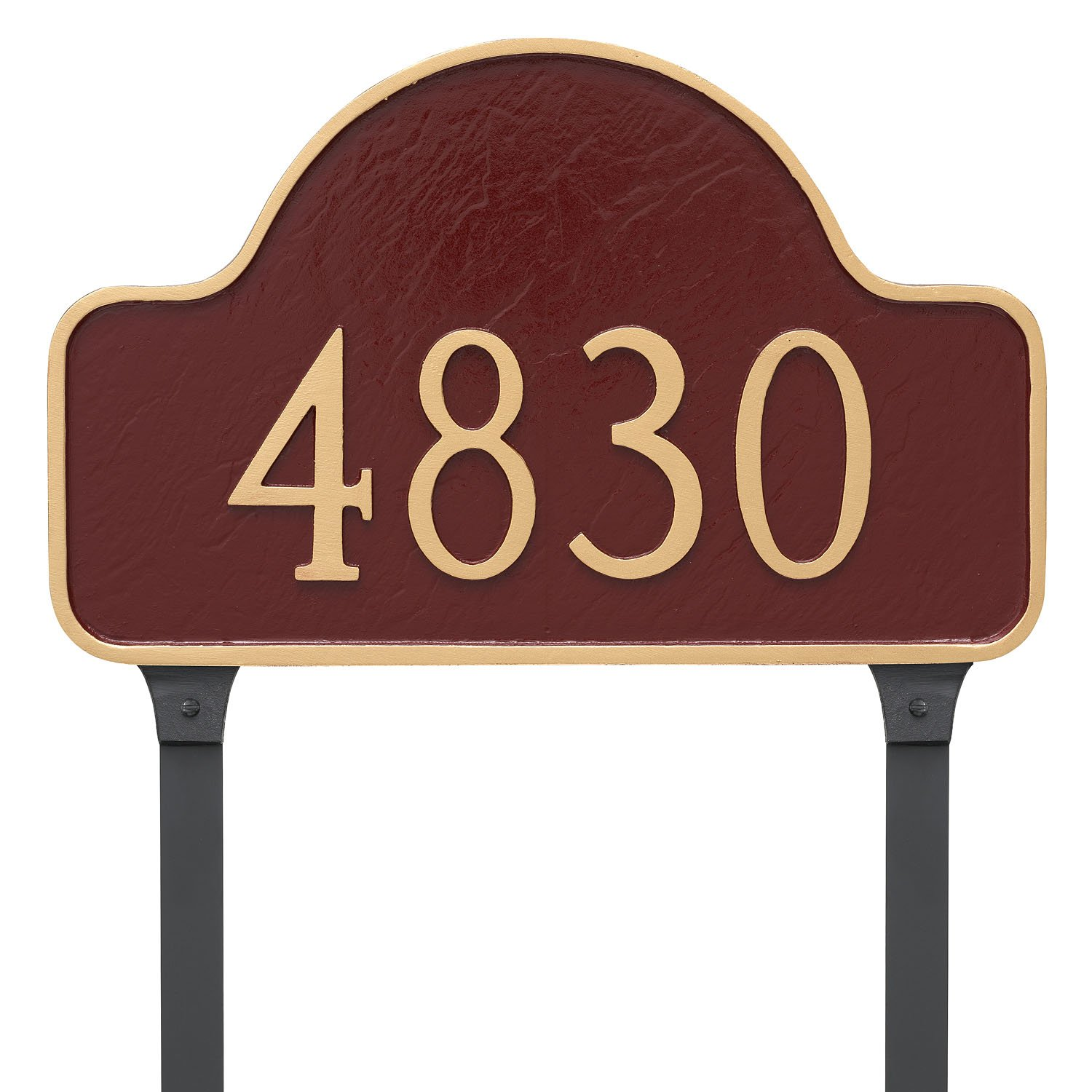 Montague Metal 13'' x 20'' One Line Lexington Arch Address Sign Plaque with Lawn Stakes, Large, Black/Gold