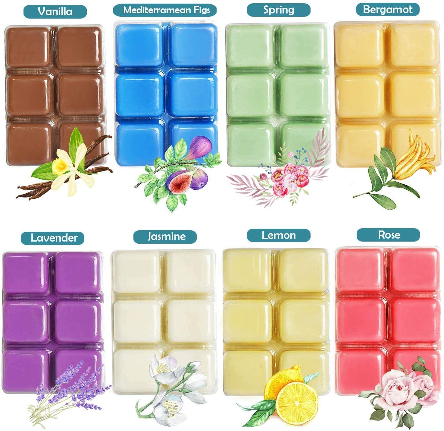 YUCH Wax Melts Air Freshener - Highly Scented Luxury Wax Cubes Gift Set - 8 Fragrances X 6 Cubes - Smells Great - Lemon, Fig, Lavender, Spring Fresh,Rose ,Jasmine,Vanilla,Bergamot