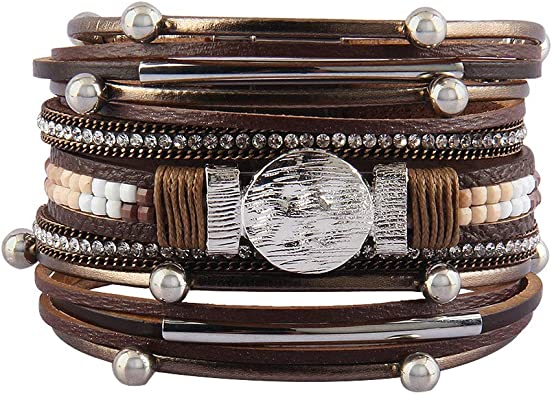 Women Fashion Handmade Large en Cuir Strass Perles Wrap Bracelet Breloque Bijoux