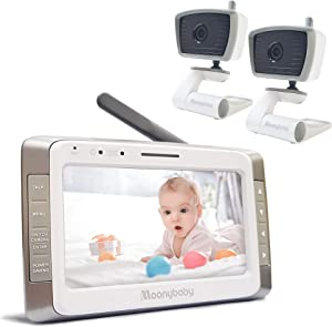 Moonybaby Trust 50-2 Non-WiFi Baby Monitor, 2 Cameras and 5 Inches Large Screen, Long Battery Life, Long Range, Auto Night Vision, Talk Back, Lullabies and Power Saving/Voice Activation