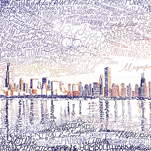 Chicago Skyline Wall Art Poster - Windy City Decor - Chi Town Print -
