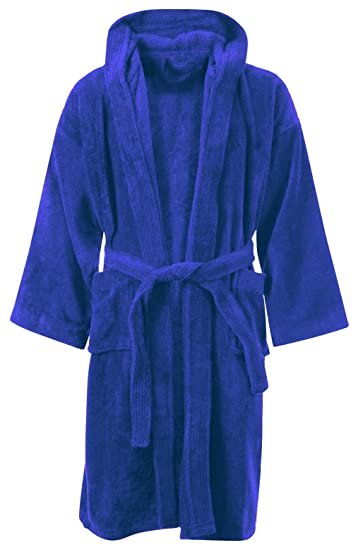 Kids Boys Girls Bathrobe 100% Egyptian Cotton Luxury Velour Towelling  Hooded Dressing Gown Soft FINE 74f2e68bf