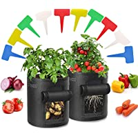 Bolsas de Cultivo de Papa,2 Pack 10 Galones Bolsas de Cultivo Plantas,Bolsa de Patata,con Ventana y Asas de Adecuada…