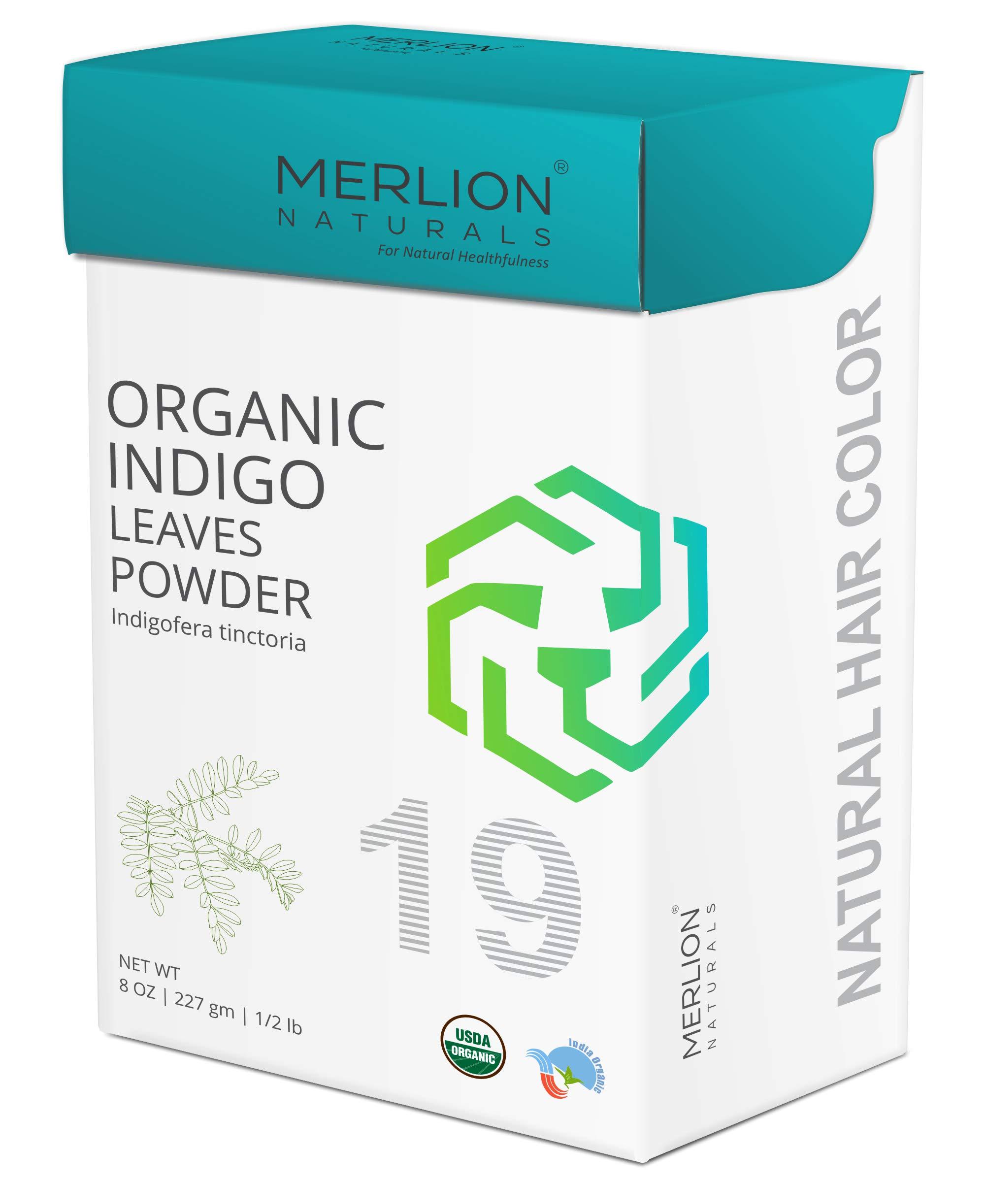 Organic Indigo Powder by MERLION NATURALS | Indigofera Tinctoria | USDA NOP Certified 100% Organic (8 OZ) by MERLION NATURALS