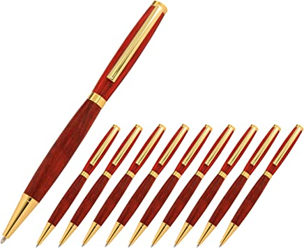 12 Fancy Slimline Pen Kits In Gold With Matched Drilled Olivewood Blanks
