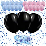 36'' Gender Reveal Balloon with Confetti 3 PACK | 3 Jumbo Black Balloons | 10 Pink Balloons | 10 Blue Balloons | 3 Blue Confetti Packs | Ultimate Party Supplies