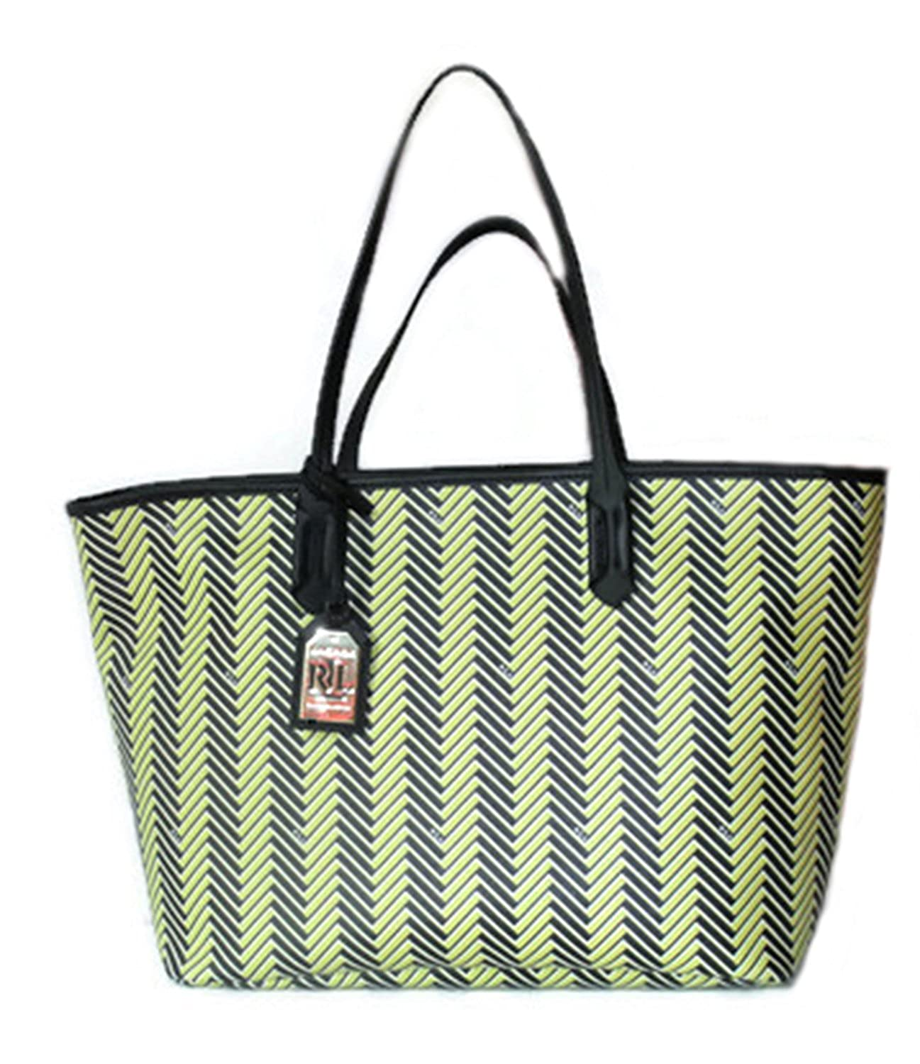 3ccbbb1eba49 Amazon.com  Ralph Lauren Handbag Boswell Classic Faux Leather Tote Citron  Black Large RRL Bag Striped Herringbone  Shoes