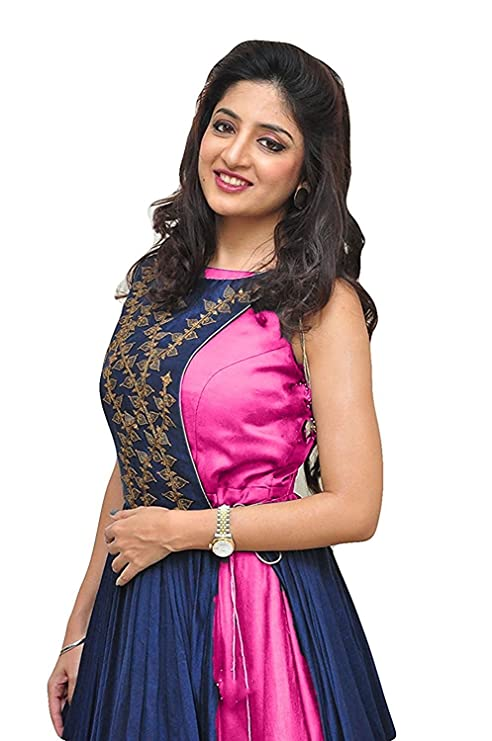 Unick Women s Heavy Banglori Silk Jacket Style Semi-stitched Pink and Blue  Floor Length Gown-Dresses (Twenty Pink Free Size)  Amazon.in  Clothing   ... 3b788b23e