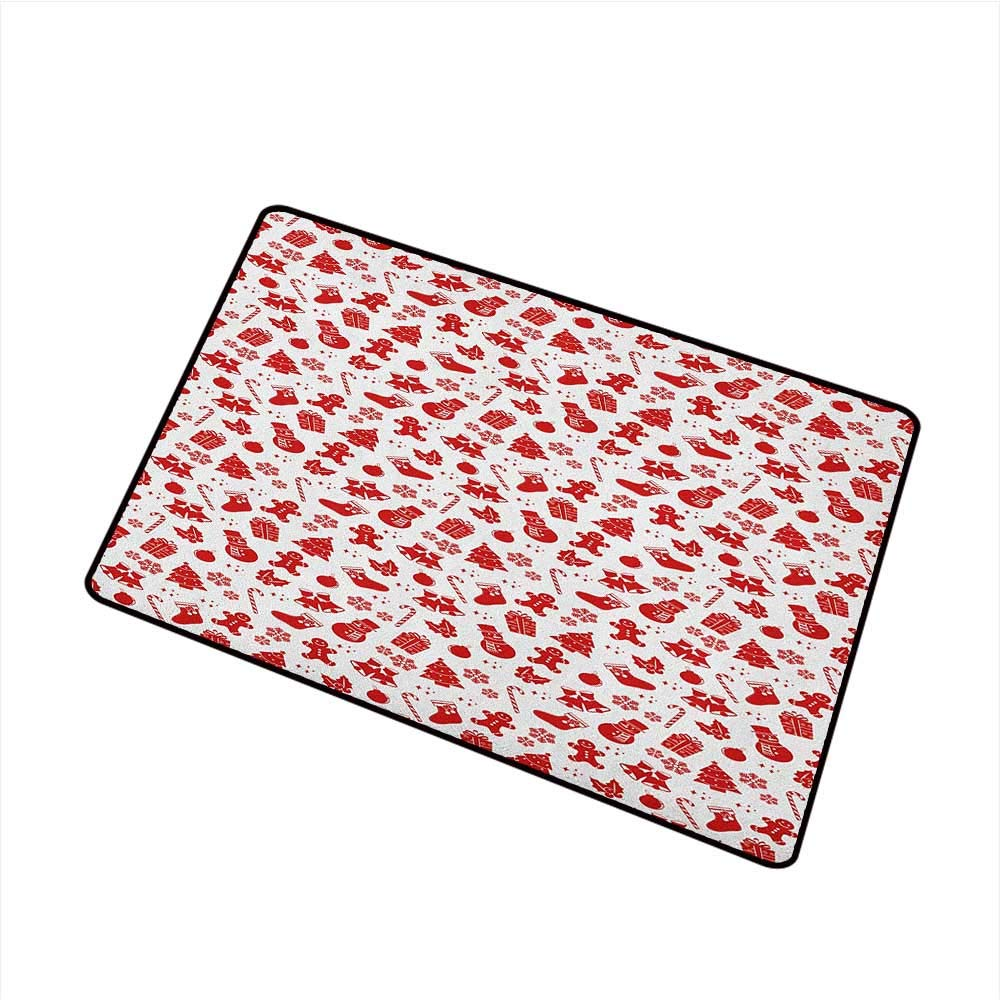 Wang Hai Chuan Christmas Commercial Grade Entrance mat Xmas Tree Gingerbread Cookie Jingle Bells Snowflakes and Candy Cones Artwork for entrances garages patios W31.5 x L47.2 Inch Red and White