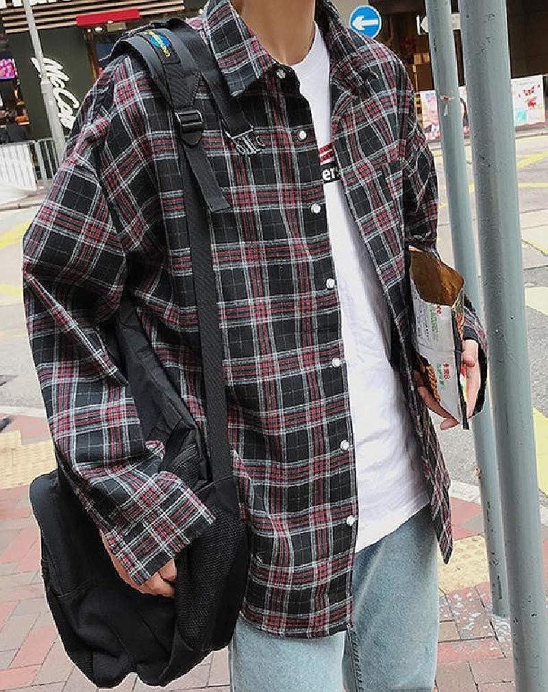 Abetteric Mens Junior Autumn Plaid Pattern Casual Hong Kong Style Western Shirt