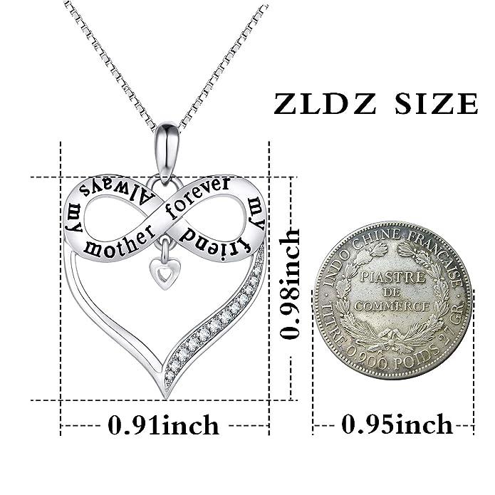 ZLDZ Always My Mother Forever My Friend Love Heart Pendant Necklace Womens Fashion Jewelry Birthday Present Wife Aunt Nana Mom