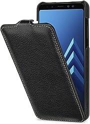 StilGut Housse pour Samsung Galaxy A8 (2018) en Cuir véritable et à Ouverture Verticale clipsée, Noir
