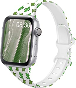 DYKEISS Pattern Printed Slim Silicone Band Compatible for Apple Watch Band 38mm 42mm 40mm 44mm, Fadeless Floral Thin Narrow Replacement Strap for iWatch Series 5/4/3/2/1 (Cactus, 42mm/44mm)