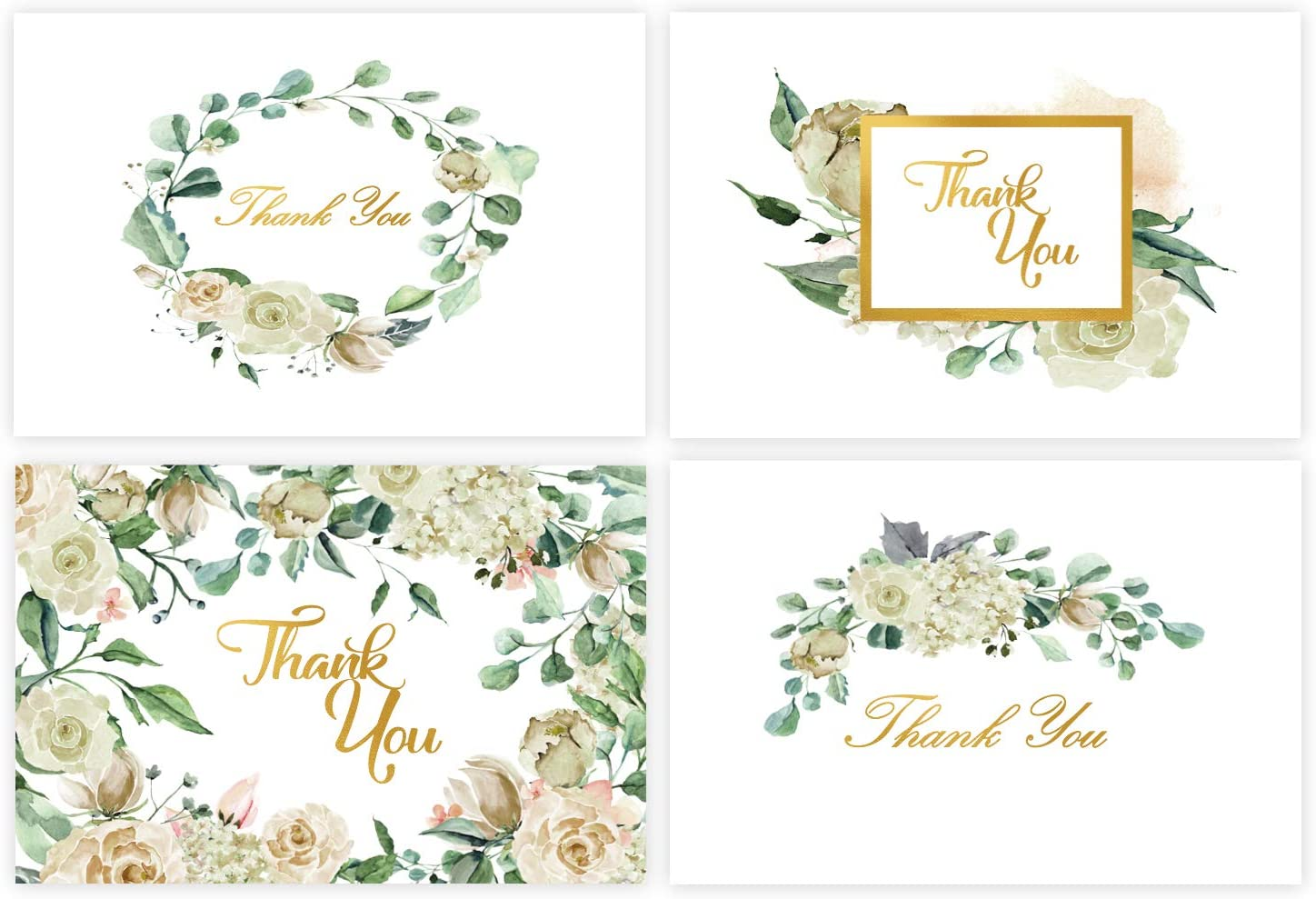 48 Thank You Cards Bulk w/Gold Foil Stickers & White Envelopes – 4x6 Blank Note Cards – Perfect for Weddings, Bridal Showers, Graduation, and Baby Showers