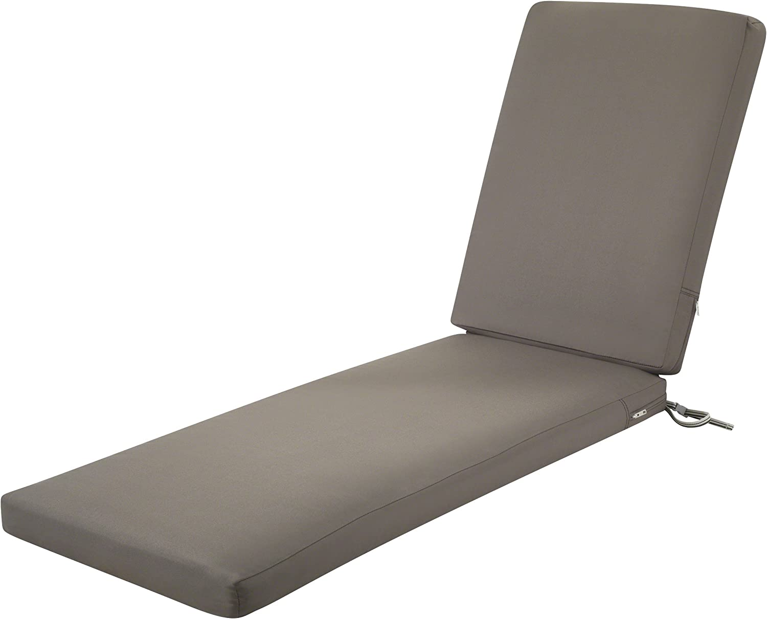 """Classic Accessories Ravenna Outdoor Patio Chaise Lounge Cushion, Dark Taupe, 72""""L x 21""""W x 3""""T"""