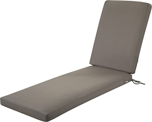 Classic Accessories Ravenna Water-Resistant 72 x 21 x 3 Inch Patio Chaise Lounge Cushion, Dark Taupe