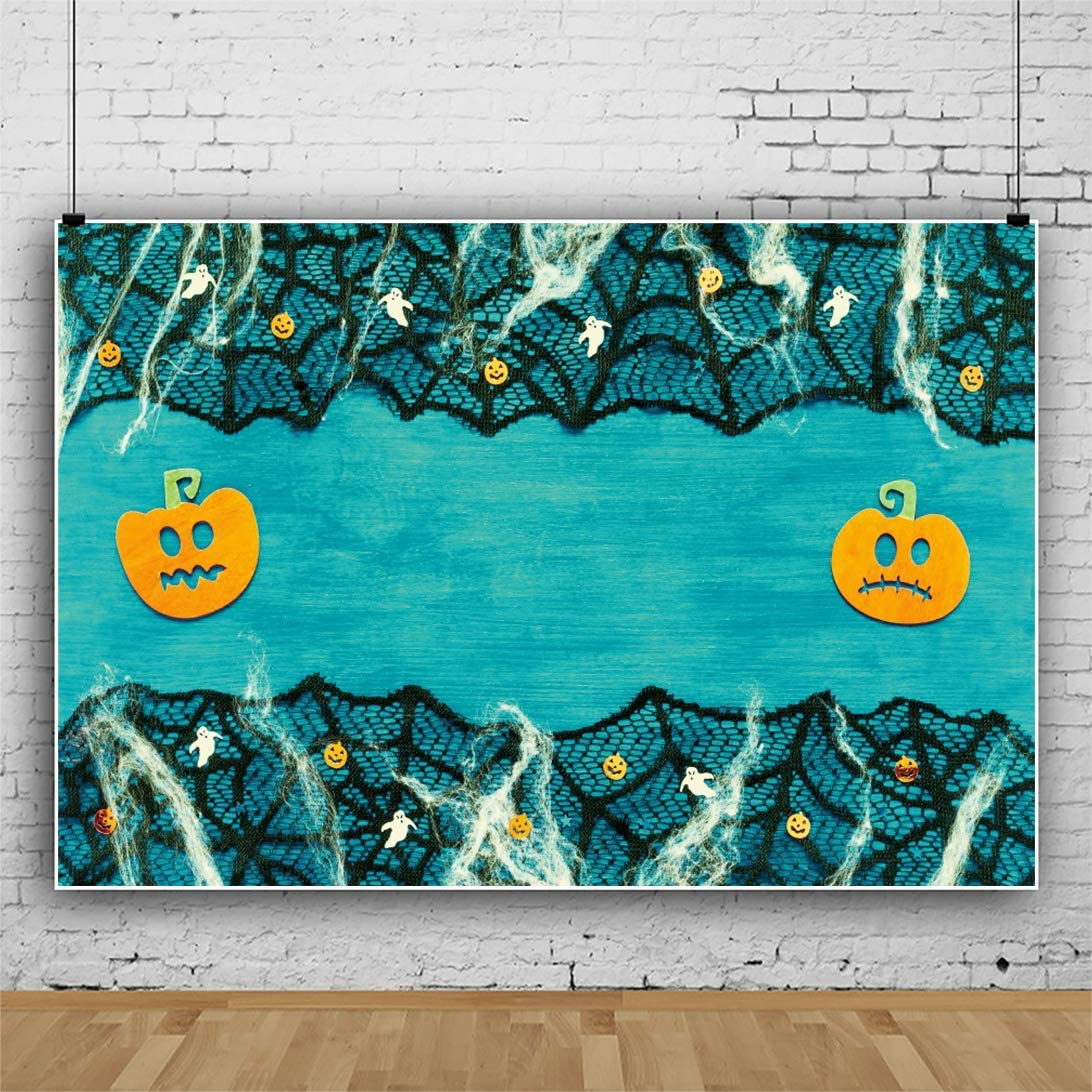Leowefowa Happy Halloween Backdrop 5x3ft Vinyl Black Lace Cobwebs Grimace Pumpkin Lamps Decors Rustic Turquoise Wall Background Child Baby Photo Shoot Trick Or Treat Party Banner Wallpaper