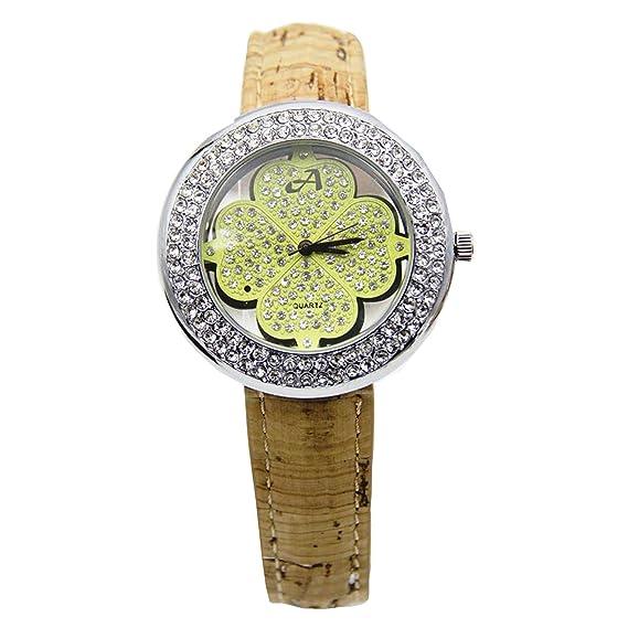 Reloj De Corcho Natural y Bambú Hecho A Mano, Reloj Unisex Mujer-Hombre Vegano